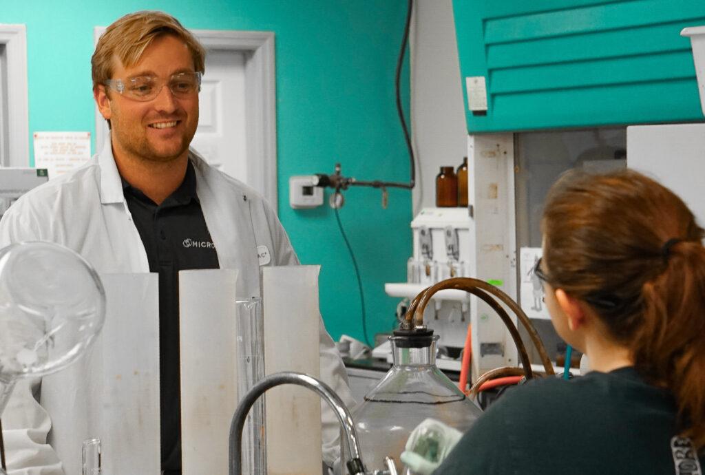 Grayson Boyce in Microbac Laboratory Facility